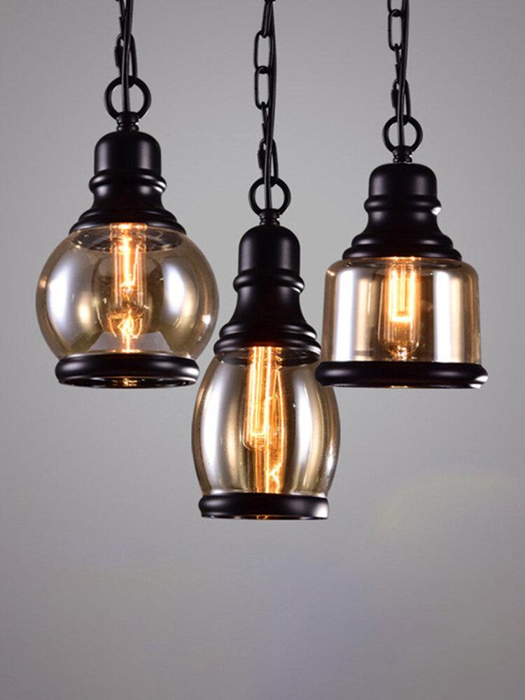 Retro Glass Pendant Lamp Vintage Industrial Lighting Fixture Bar Loft