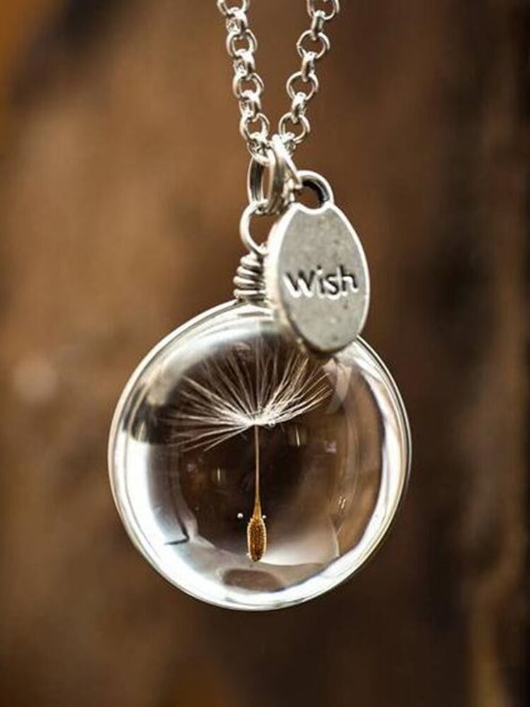 Glass Bottle Wishing Ball Charm Necklace for Women