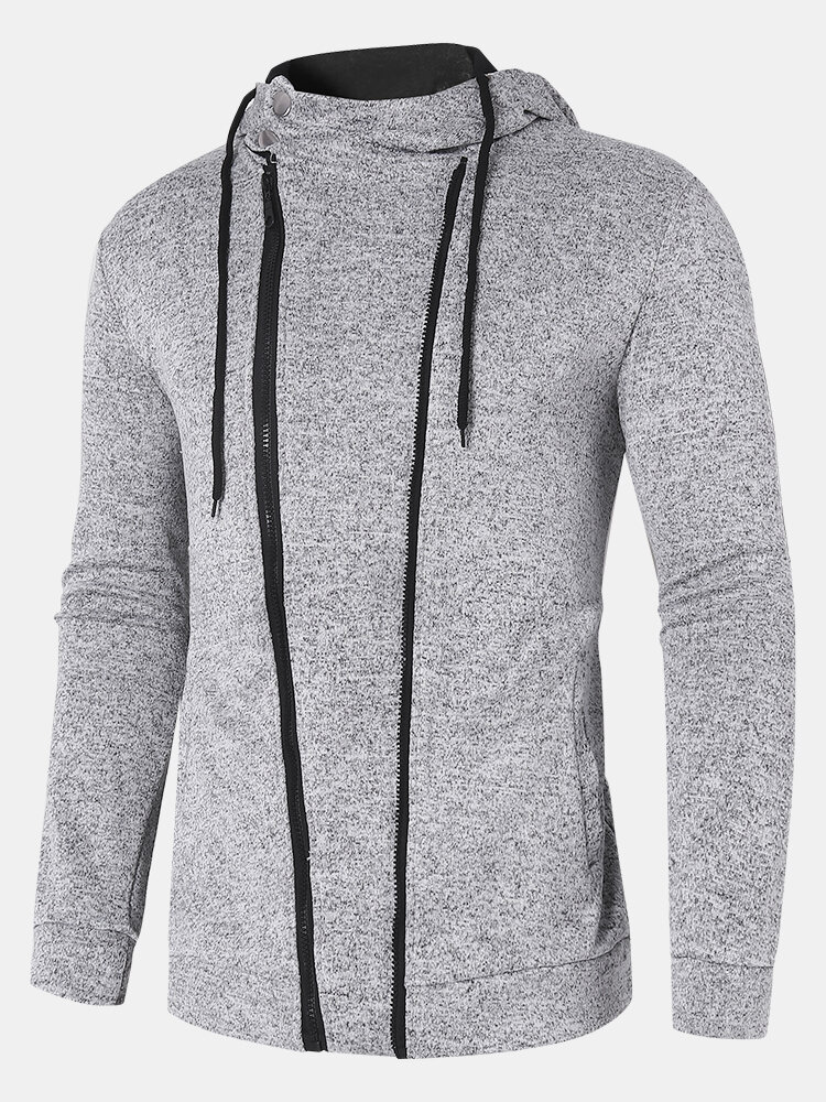 Mens Solid Color Zipper Up Sporty Long Sleeve Hoodie With Pocket