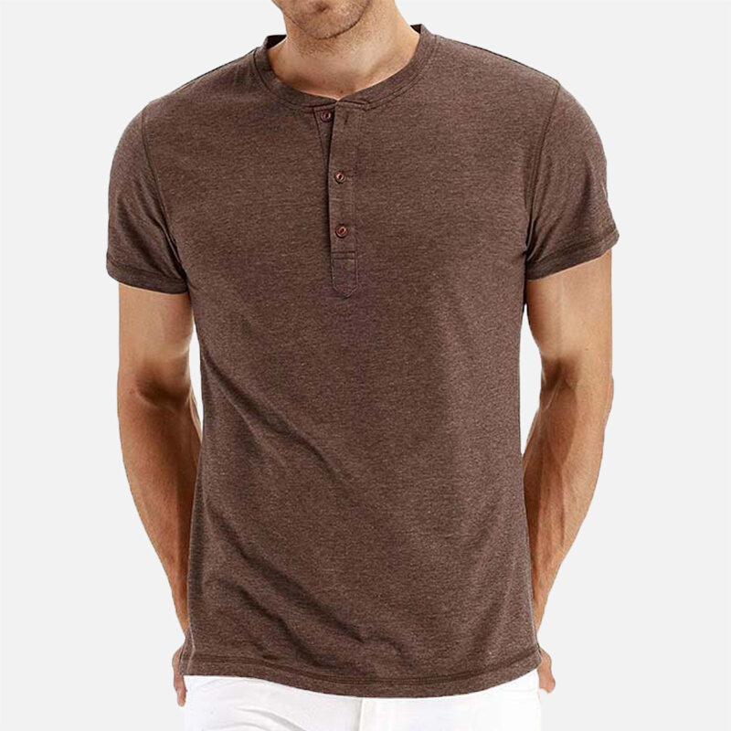 Mens Solid Color O-neck Short Sleeve Comfy Casual Loose Henley Shirts