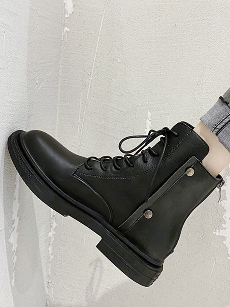 Women Comfy Solid Color Warm Lined Patchwork Motorcycle Boots