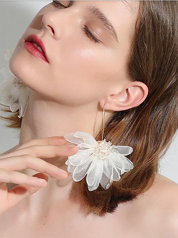 Trendy Big Petal Flower Earrings Temperament Alloy Beads Earrings