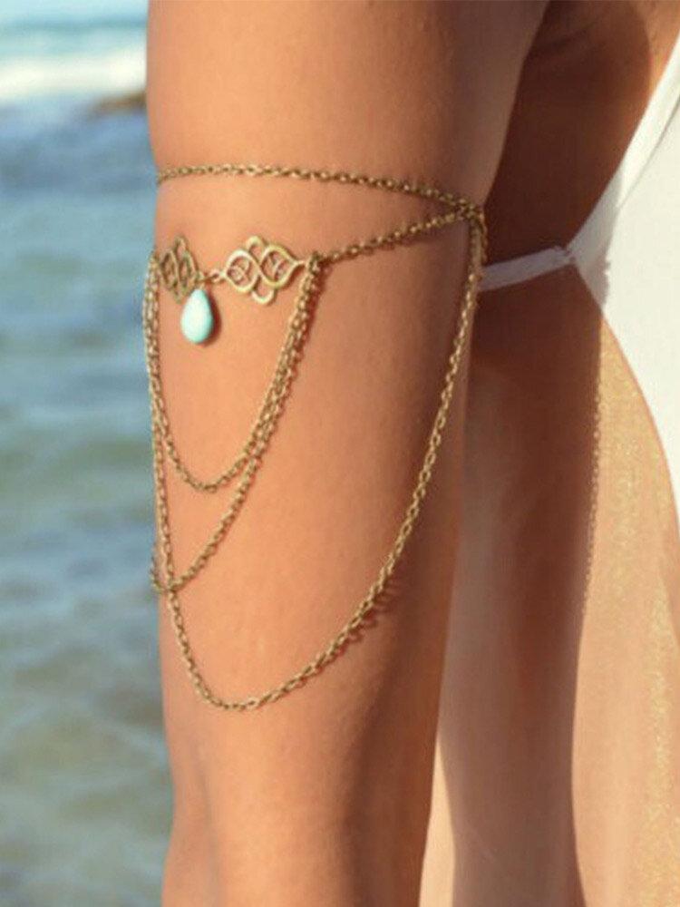 Vintage Trendy Hollow Auspicious Clouds Drop-shape Turquoise Pendant Chain Tassel Alloy Arm Bracelet
