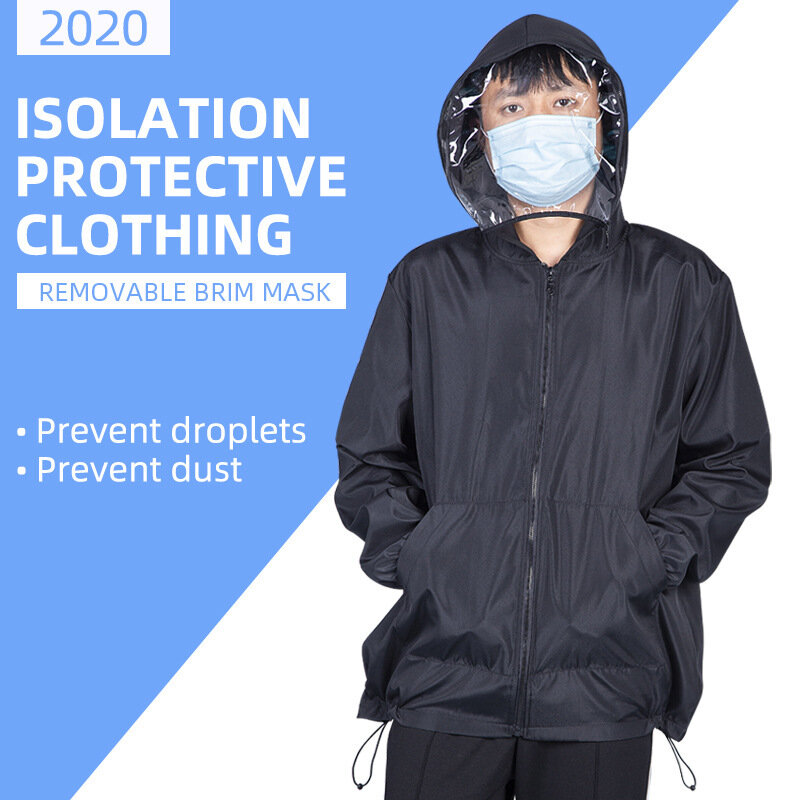 Protective Isolation Clothes Hooded With Face Mask Breathable Lightweight