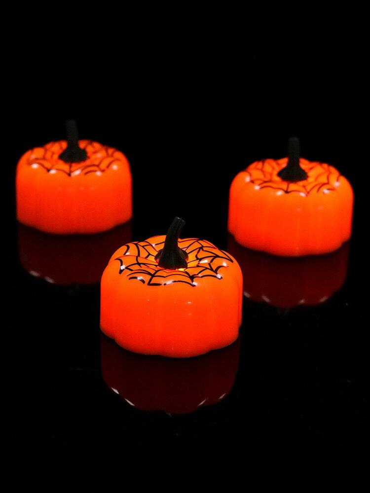 12 Pcs Halloween Pumpkin LED Light Mini Night Light For Festival Christmas Decoration Children Gift Spider Web Pumpkin Lamp