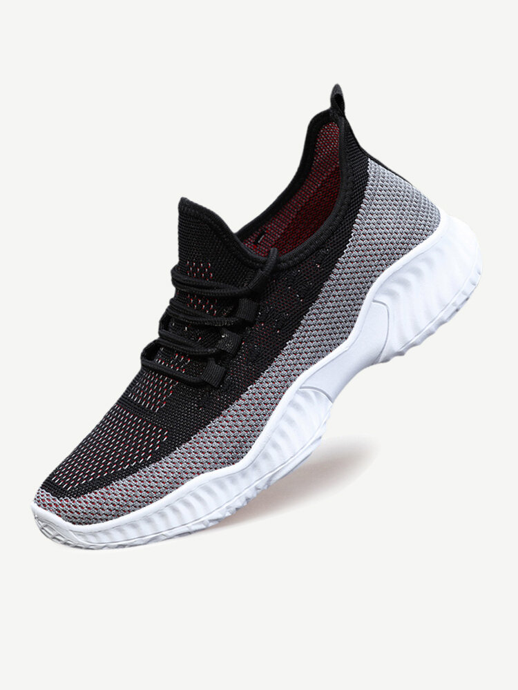 Mens Light Weight Knitted Fabric Breathable Soft Running Shoes