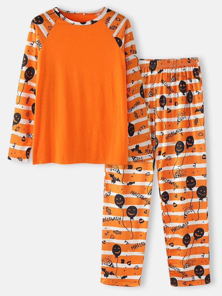 Mens Halloween Striped Grimace Print Raglan Sleeve Home Pajamas Sets