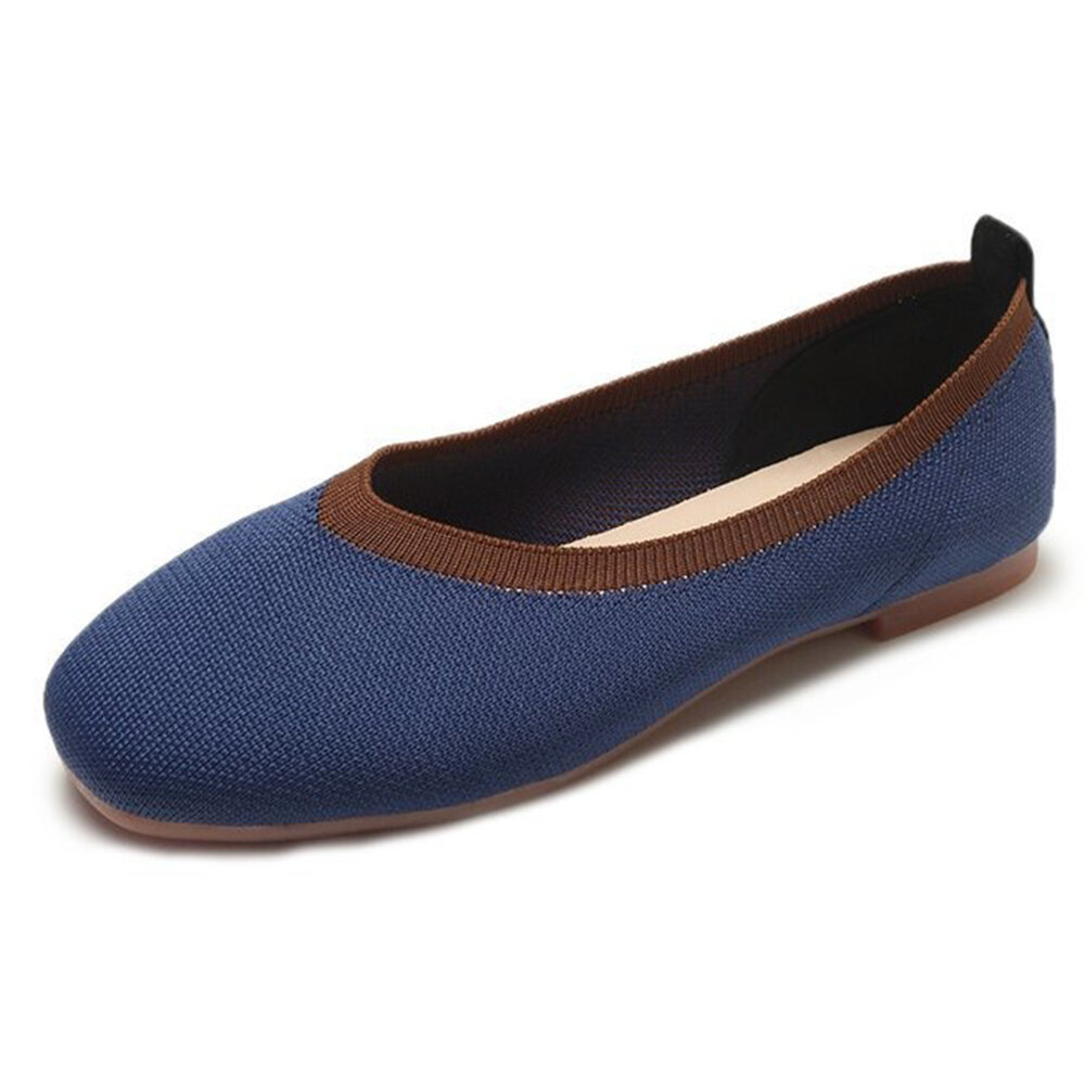 Color Splicing Knit Square Toe Slip On Lazy Casual Loafers