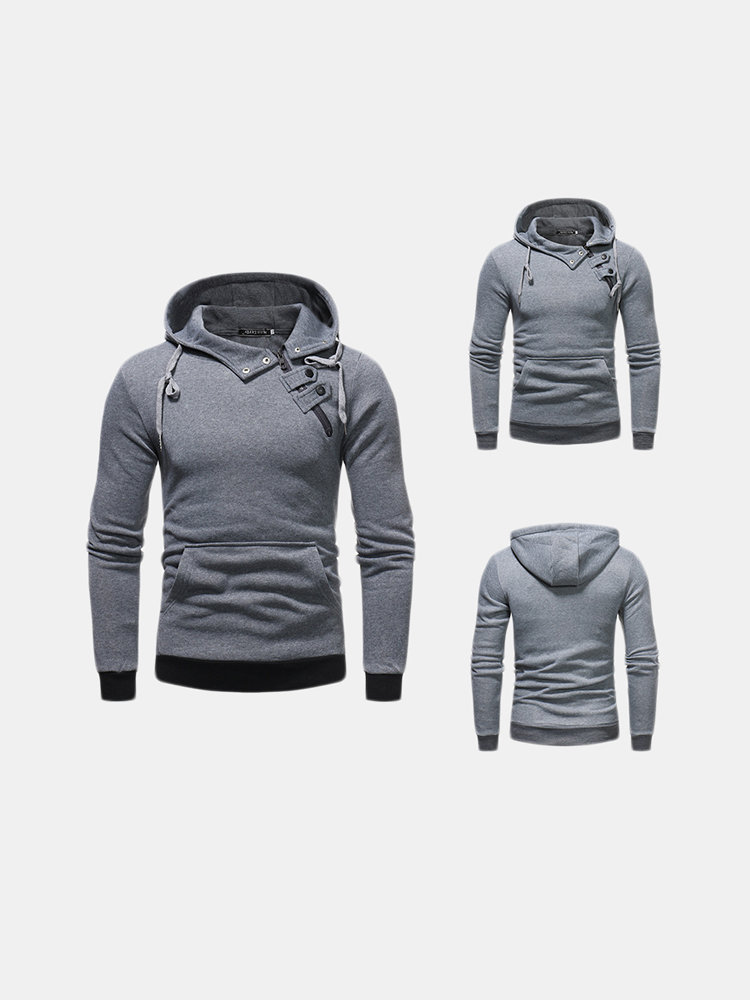 Mens Cotton Court Buckle Decoration Drawstring Sport Casual Hoodie