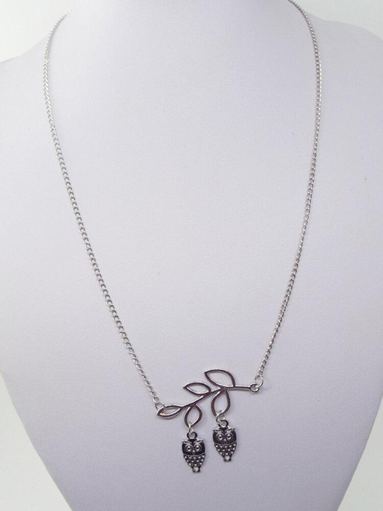 Cute Pendant Necklace Leaves Bird Owl Animals Pendant Chain Necklace Fashion Jewelry for Women