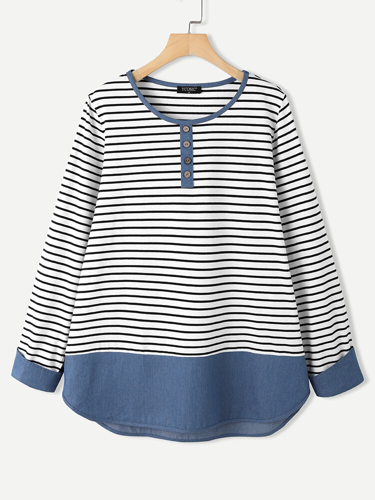 Striped Print Patchwork Buttons Side Slit O-neck Cotton Blouse for Women