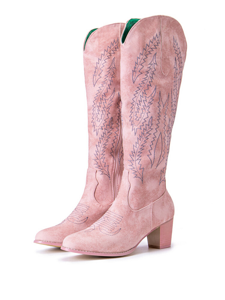 Large Size Women Retro Pointed Toe High Chunky Heel Knee Length Cowboy Boots