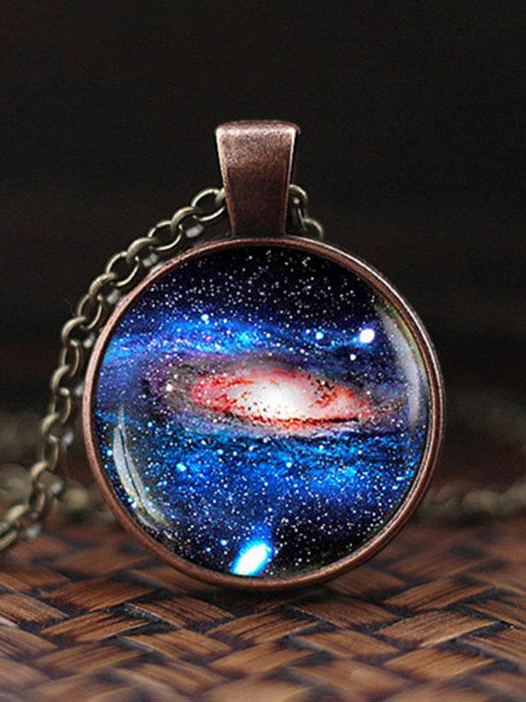 Vintage Glass Gem Women Necklace Universe Starry Sky Pendant Necklace Jewelry