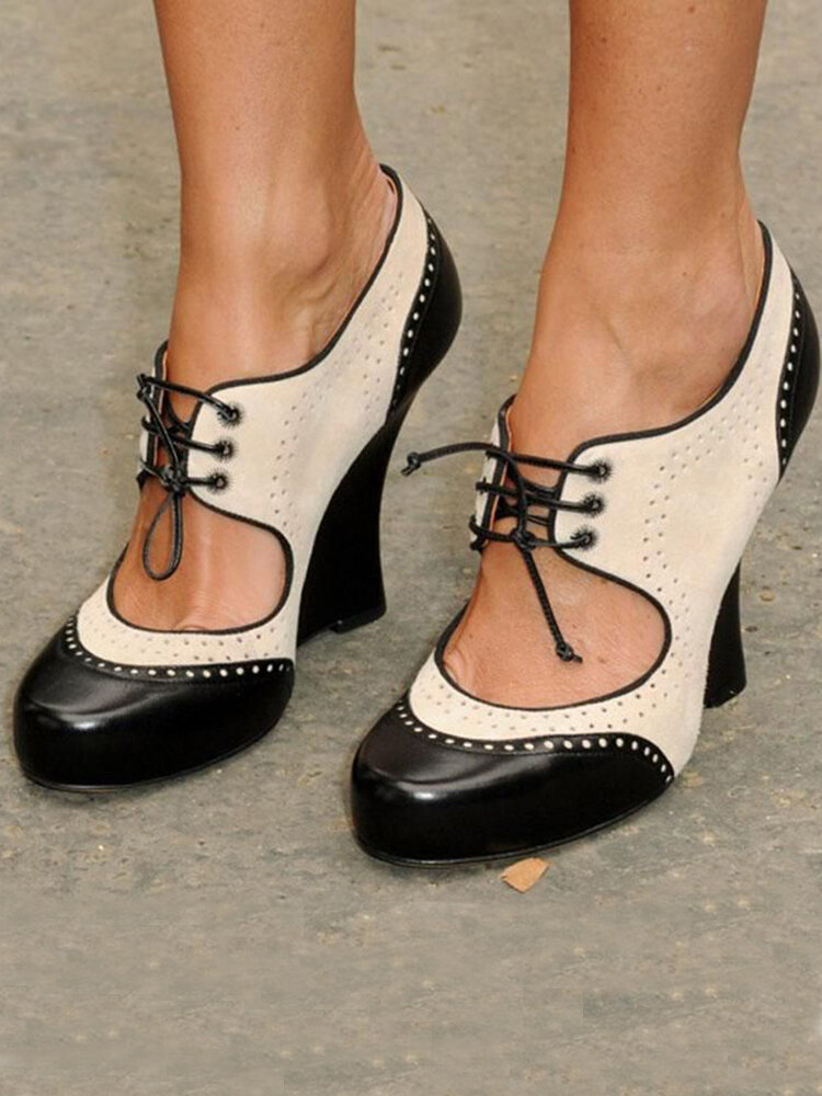 Women's Large Size Breathable Hollow Splicing Lace Up Chunky Heels Pumps