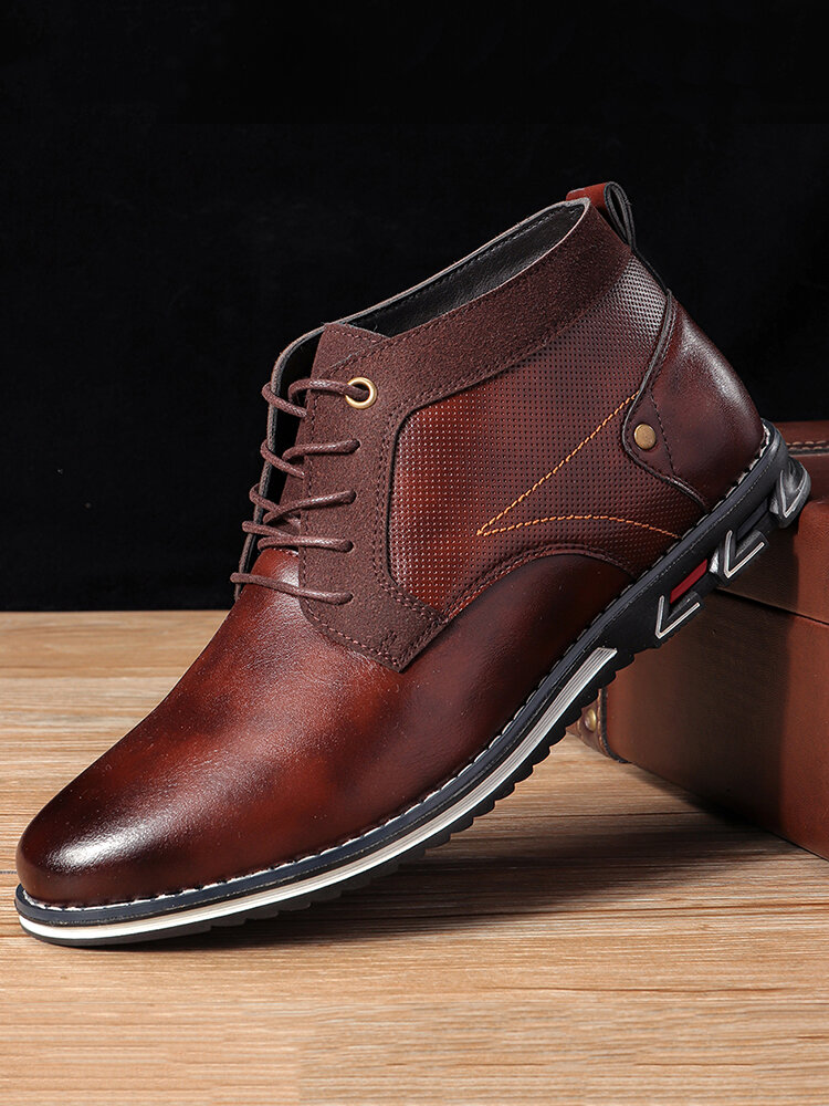 Men Large Size Retro Comfy Lace Up Business Casual Ankle Leather Boots