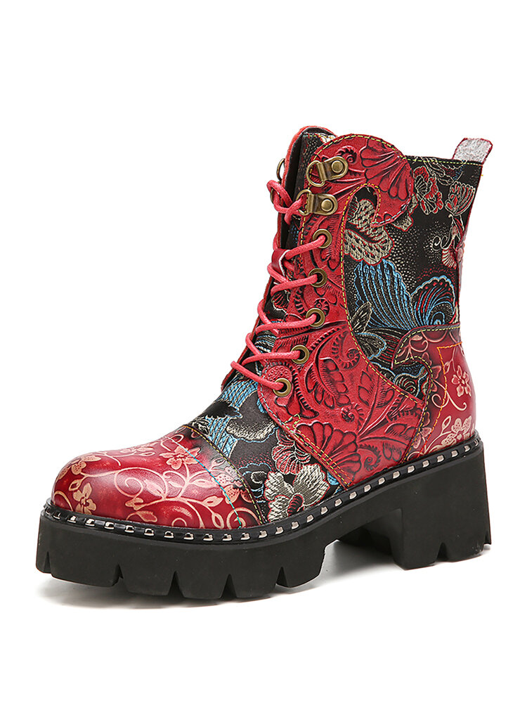 SOCOFY Retro Round Toe Embossing Floral Embroidery Cloth Leather Splicing Wearable Short Boots