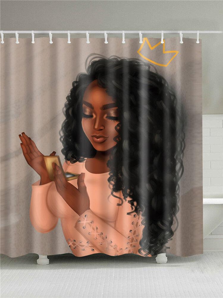 4 pcs/set African Americen Girl Shower Curtain Carpet Mat Set Art Afro Black Woman Frabic Waterproof Polyester Bath Curtain with Hooks For Bathroom Accessories Decor