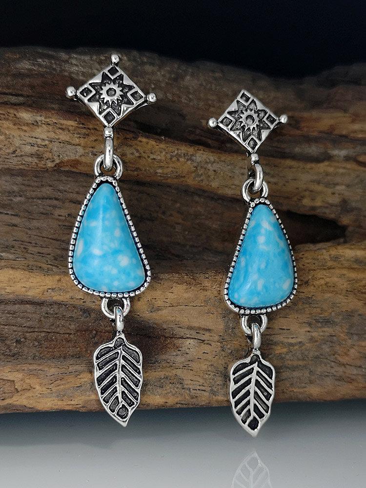 Vintage Drop-shape Leaf-shape Alloy Turquoise Earrings
