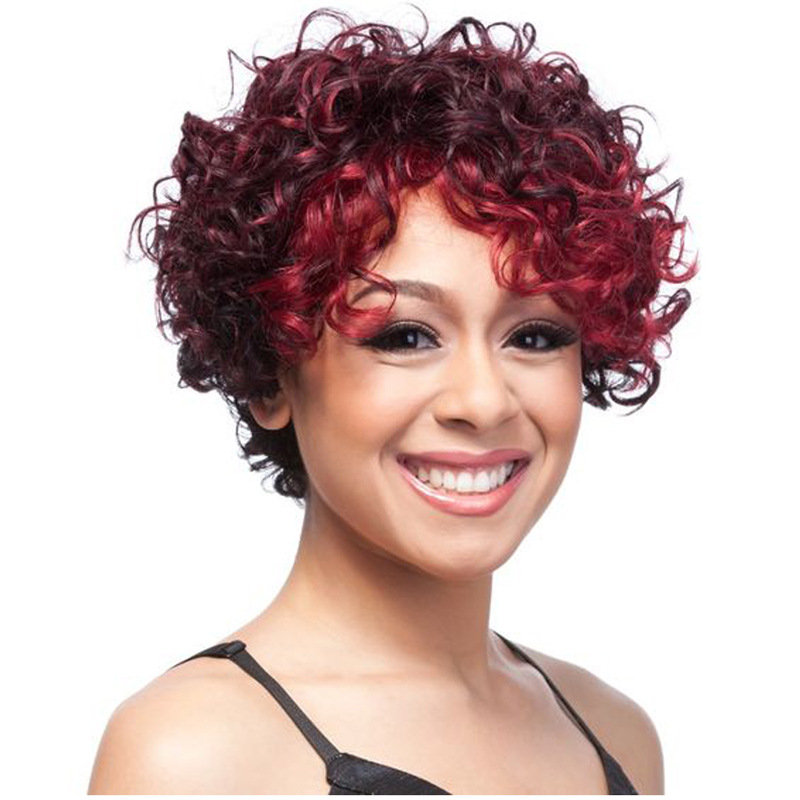Short Curly Synthetic Wigs African Small Volume High Temperature Wire Hair Wigs Fashion Wine Red Wig