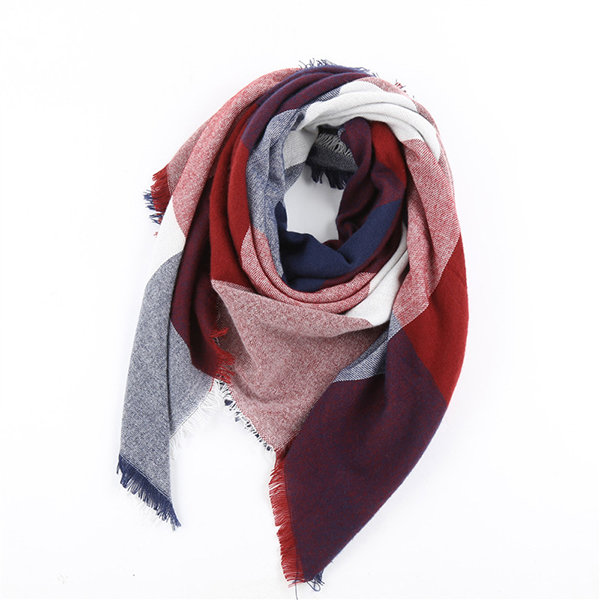 Women Warm Lattice Square Scarf Shawl Oversized  Blanket Wrap Tassel Edge Scarves