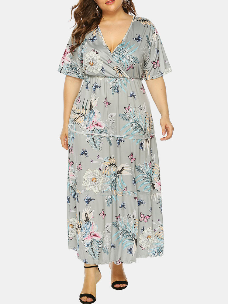 Bohemian Butterfly Flower Print Pleated Tiered Layer Plus Size Dress