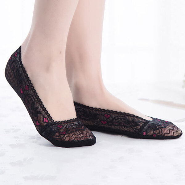 Women Summer Lace Heart Antiskid Invisible Shallow Mouth Boat Socks