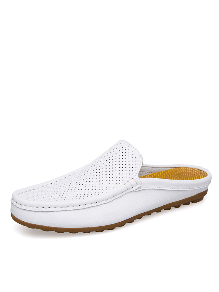 Men Cowhide Leather Non Slip Hard Wearing Backless Casual Slippers