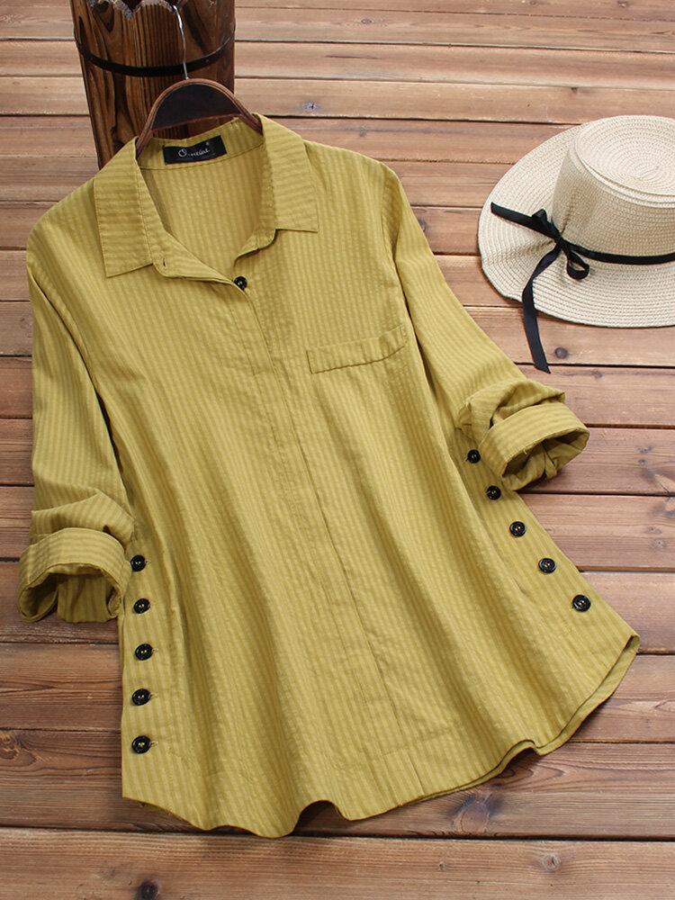Vintage Ansteckknopf Langarm Plus Größe Shirt