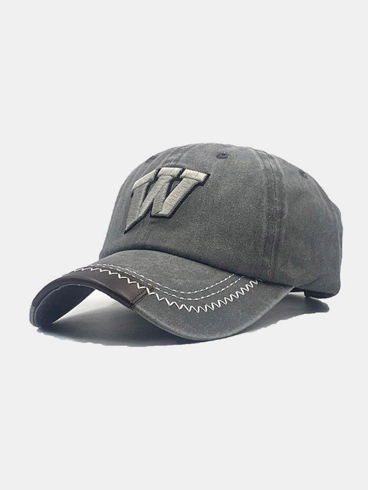 Unisex Washed Cotton Solid Color Letter Embroidery Retro All-match Baseball Cap