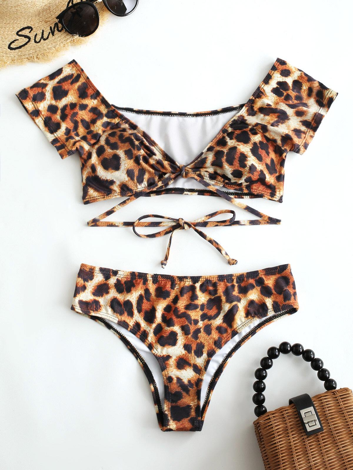 Leopard Print Tie Front Sexy Bikinis Women Swimsuits High Waist Off Shoulder Swimwear