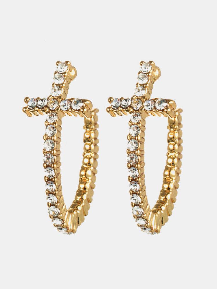 Fashion Curved Cross Stud Earrings 18K Gold Platinum Plated Anallergic Diamond Earrings for Women