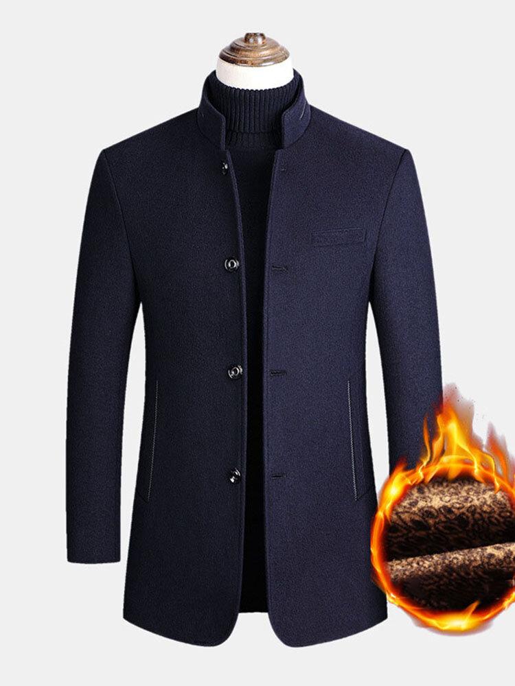 メンズシングルブレストウールシックンウォームスタンドカラーオーバーコートポケット付き