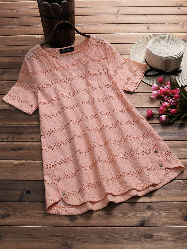 Casual Women Embroidery Crochet Hollow Out T-Shirt