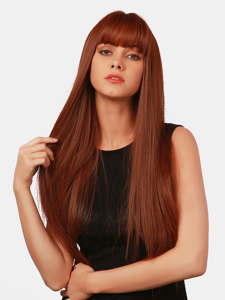 30 Inch Wine Red Long Straight Hair Air Bangs Soft Fluffy Synthetic Full Head Cover Wig