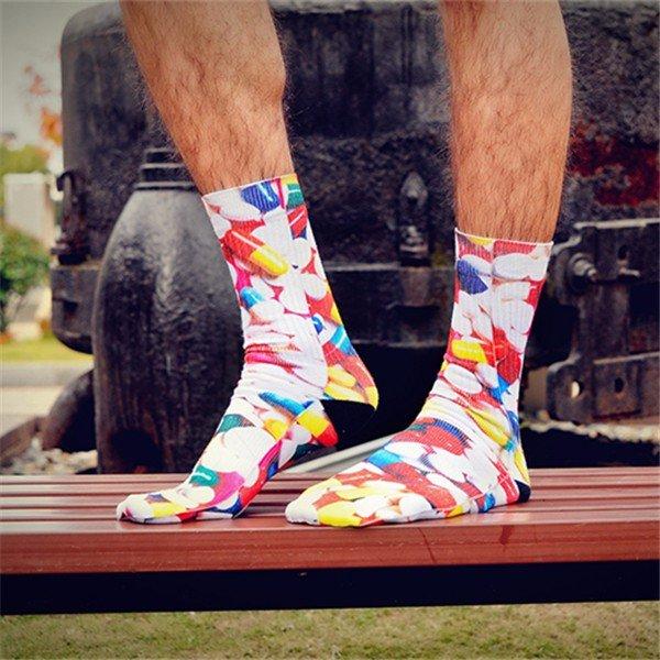 Men Women 3D Printed Elastic Cotton Sock Fashion Casual Long Socks