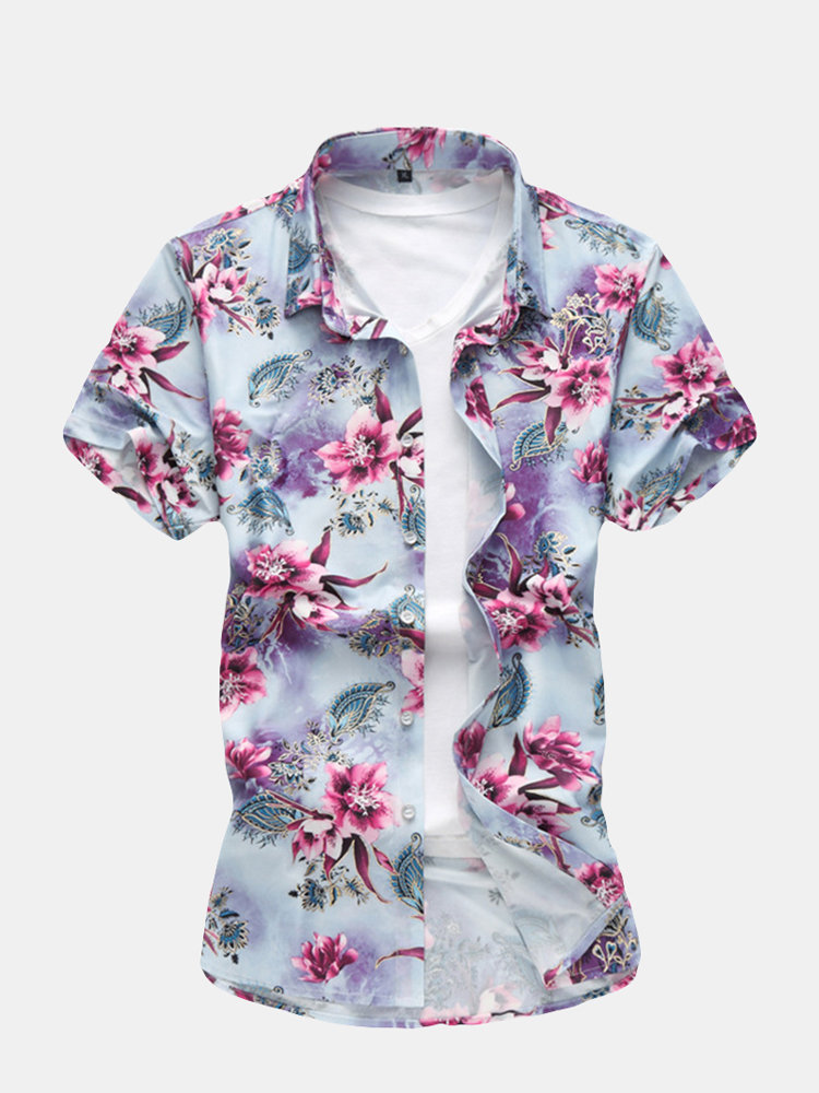Mens short-sleeved shirt  casual loose plus size holiday style shirt