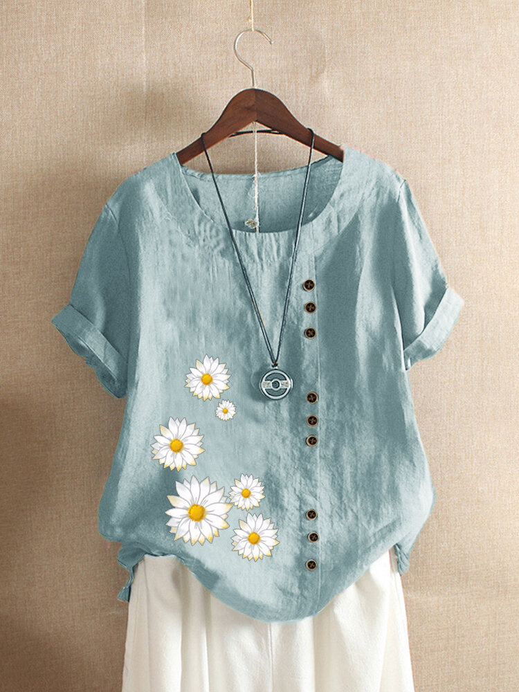 O-neck Daisy Print Short Sleeve T-shirt For Women