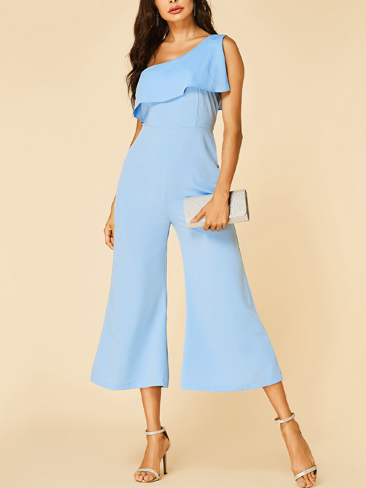 Solid Color Plain One-shoulder Ruffle Long Casual Jumpsuit for Women