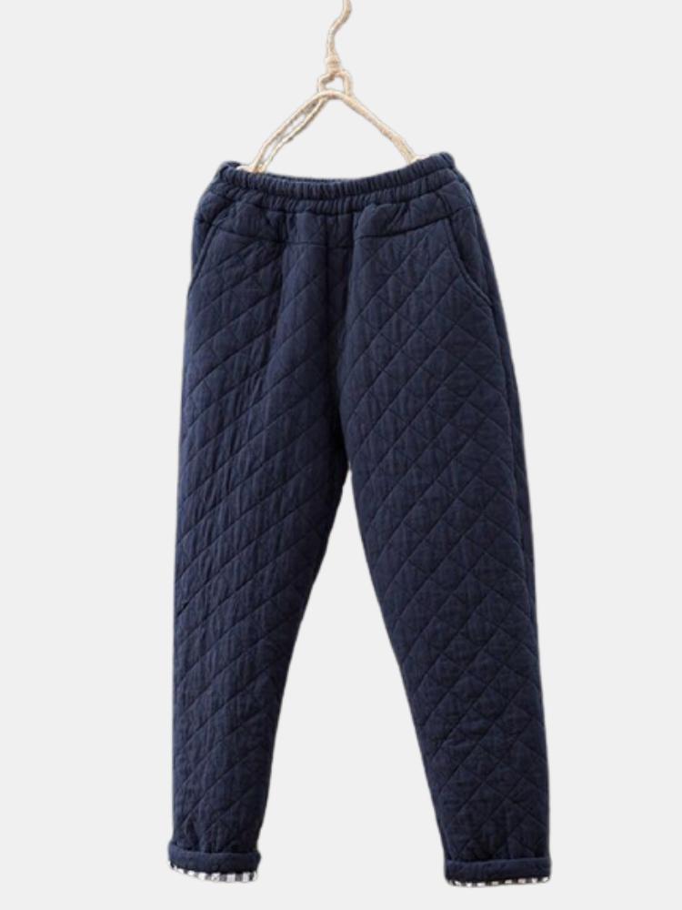 Casual Solid Color Elastic Waist Plus Size Pocket Pants for Women