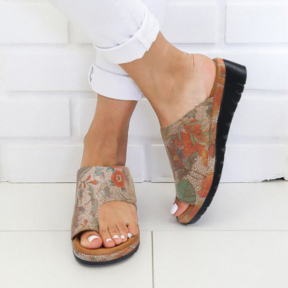 Women Casual Pattern Clip Toe Wedges Slippers