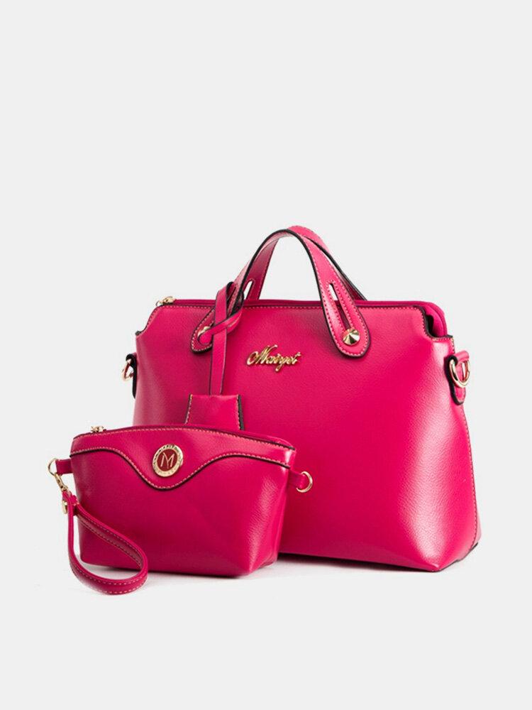 Women Stylish Elegant PU Leather 2PCS Handbag Clutch Pure Color Bags