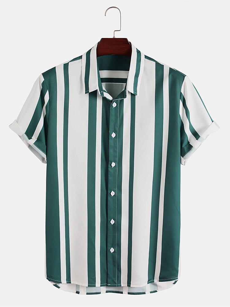 メンズストライプラペル半袖ボタンアップカジュアルシャツ