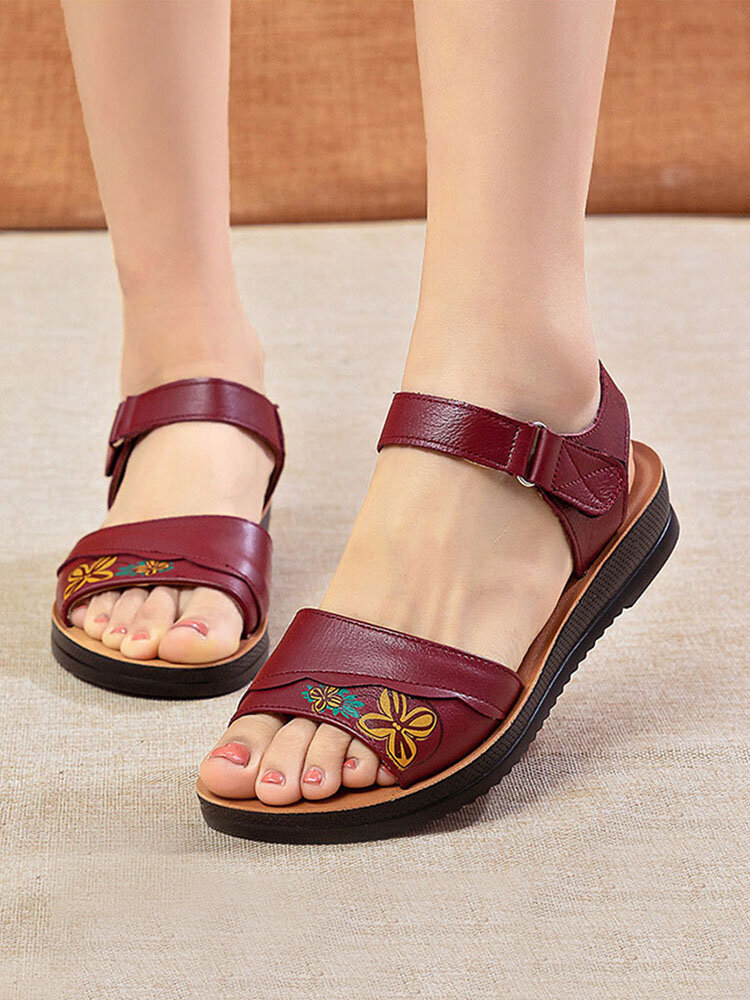 Women Daily Print Stitching Leather Comfy Lightweight Hook Loop Sandals