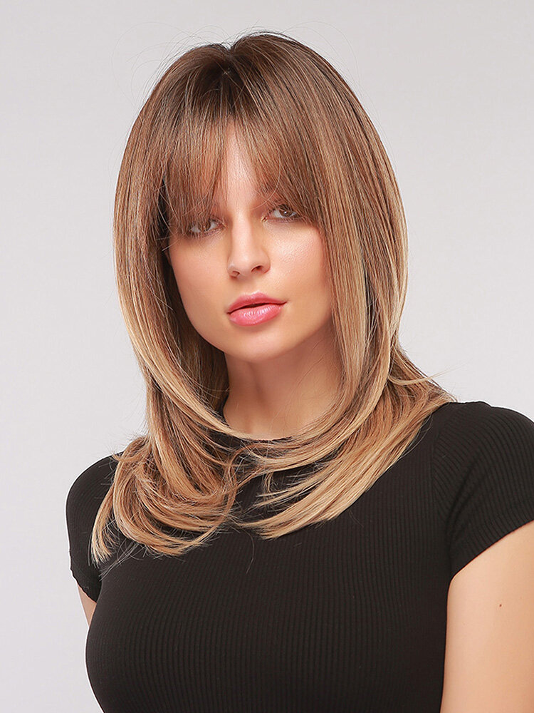 24 Inch Brown Gradient Layered Long Straight Hair Breathable Prom Full Head Cover Wig