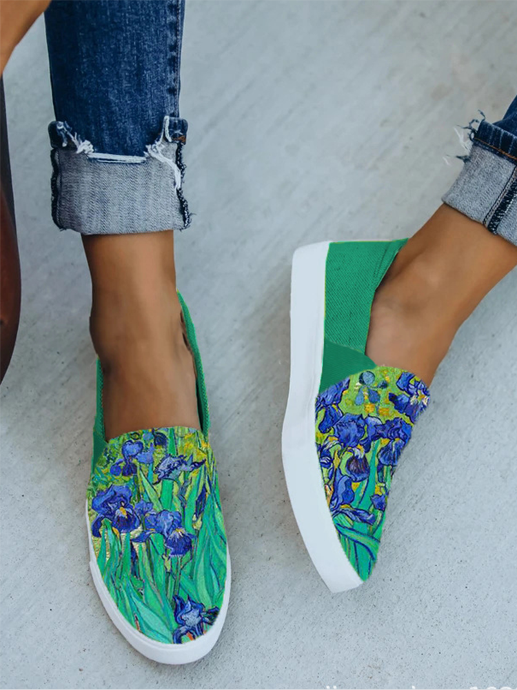 Women Casual Printing Calico Pattern Hard-wearing Flat Loafers Shoes