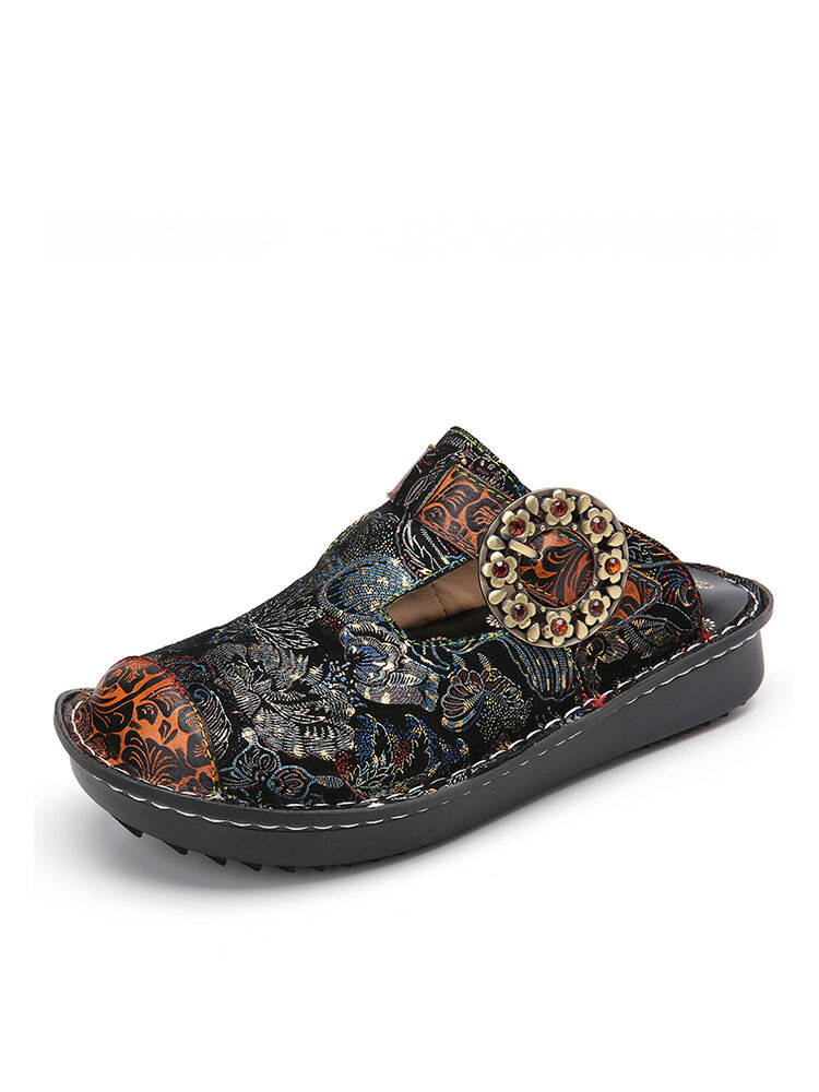 SOCOFY Retro Flowers Buckle Strap Decor Comfy Genuine Leather Non Slip Mules Sandals