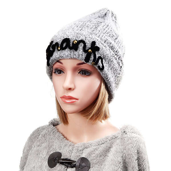 Women Thicken Braided Crochet Rivets Knitting Hat Winter Warm Ski Beanie Cap
