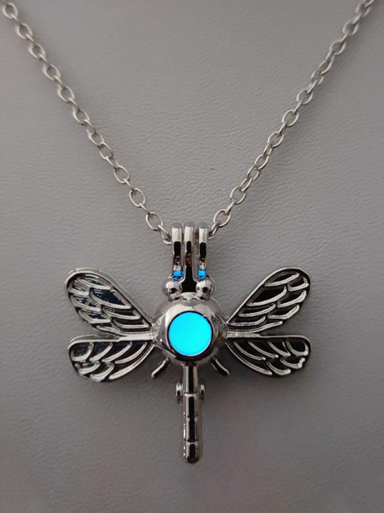 Vintage Stylish Dragonfly-shape Pendant Alloy Luminous Beads Necklaces