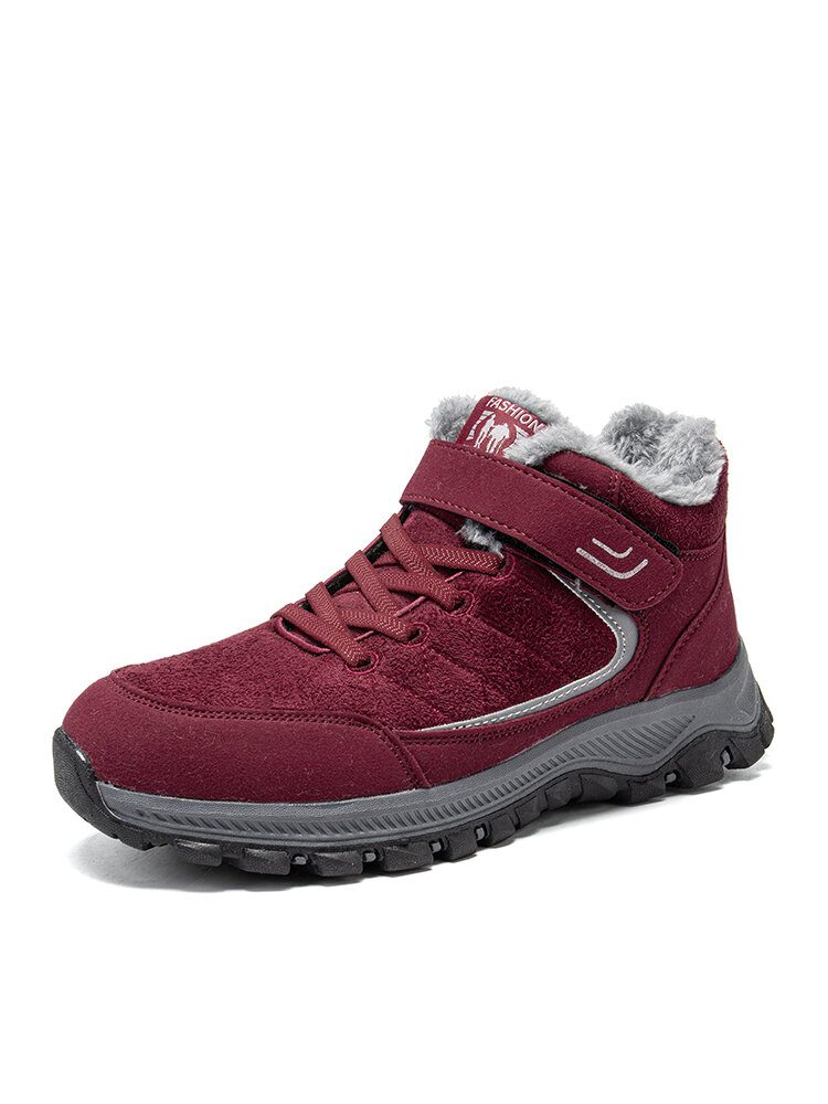 Women Casual Stitching Warm Lining Wearbale Hook & Loop Sports Shoes