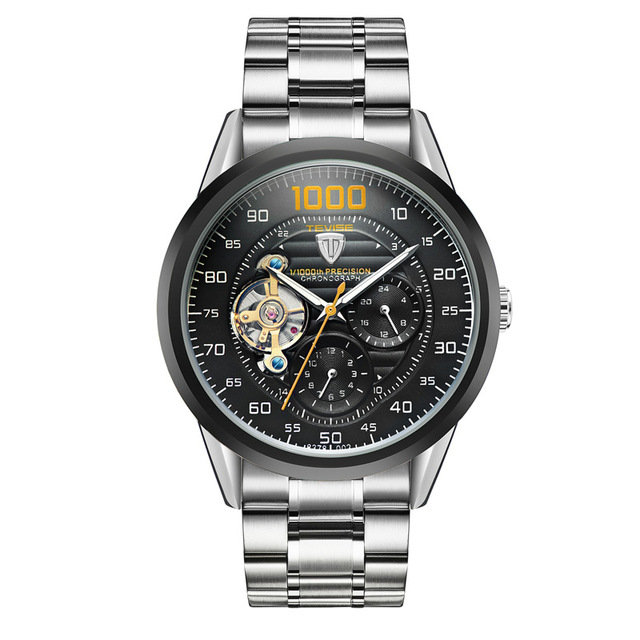Tevise Luxury Automatic Men Business Wrist Watch Stainless Steel Mechanical Silver Watch for Men